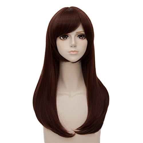 MUZI WIG D.Va Cosplay Perücke, Frauen Mode Lange Glatte Haare Kostüm Anime Cosplay Perücke