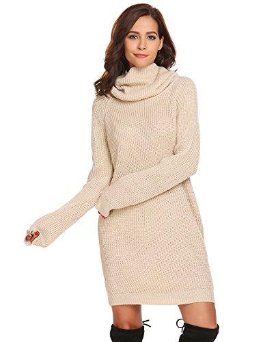 Zeela Damen Herbst Winter Pullover Kleid Lang Rollkragenpullover Strickkleid mit Taschen , Farbe - Beige , Gr. S