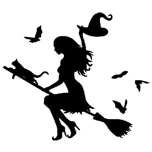 ker Haus Kleine Hexe Auto Aufkleber, Hexe auf fliegenden Besen Auto Auto Aufkleber Stoßstange Fenster Laptop Halloween DIY Aufkleber Black ()