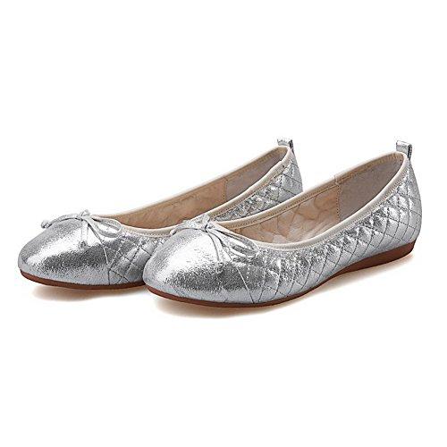 VogueZone009 Femme Tire Rond à Talon Bas Pu Cuir Couleur Unie Chaussures à Plat Argent