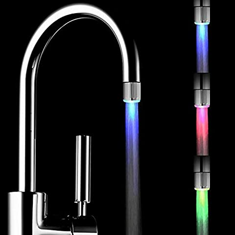 Pawaca Mini 3 Colors Changing Led Faucet Temperature Control Sensor Tap Shower Head For Kitchen&Bathroom
