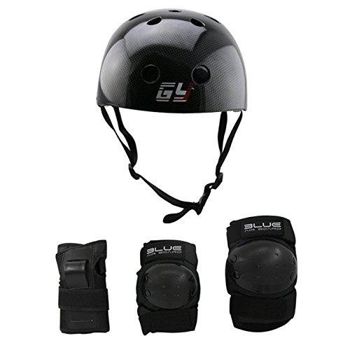 GY SPORTS ABS Carbonfolie schwarze Abdeckung Skateboard Rollschuhlaufensturzhelm mit schutzkleidung (Black, L) (Roller Skates Abdeckung)
