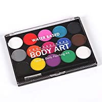 Febbya Face Paint Palette,12 Pack Professional Body Paint Set with 6 Brushes and 32 Stencils,Washable Facepainting Non-Toxic Water Based Body Art for Halloween Party Holiday Makeup