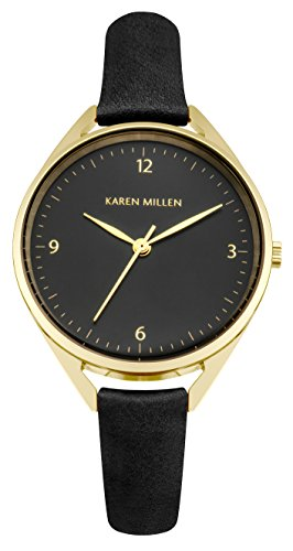 Karen Millen Women's Quartz Watch with Black Dial Analogue Display and Black Leather Strap KM130BG