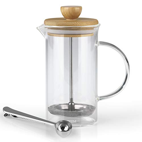 BEEM Coffee Press Kaffeebereiter - 0,35 l oder 1 L wählbar | 2-3 & 8 Tassen | French Press | Bambus | Kaffeepresse | Glaskanne mit Bambusdeckel | Edelstahlfilter (0,35 L)