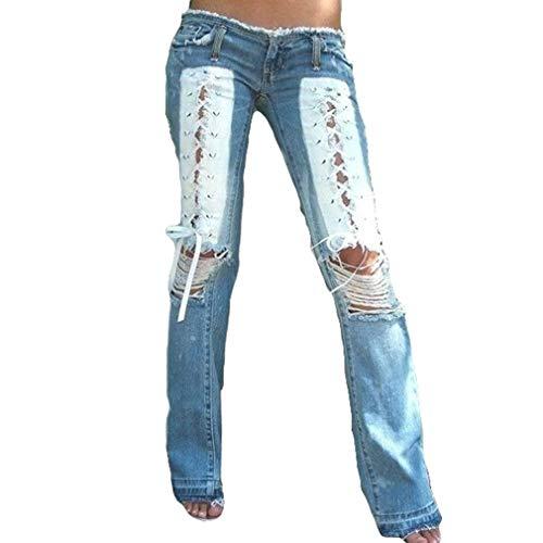 hongxin Hohe Taille Spandex rosa weiblich Jeans Schlaghosen, troddeln Hipster sexy gebrochene Loch Jeans -