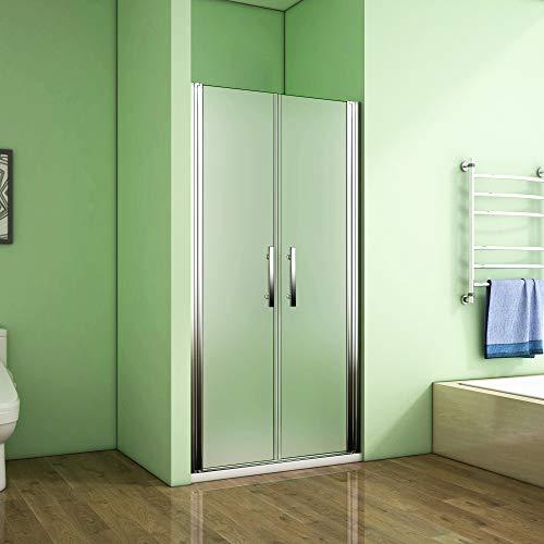 Aica Sanitär 75cm - Verstellbereich von 73-75 cm, Höhe: 195 cm, Duschabtrennung, Duschtür aus 6mm Milchglas mit Nanobeschichtung Splitterschutzfolie