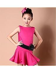 niñas de trajes de baile latino América Niños muchachas de la falda de baile latino vestido de danza concurso de disfraces de baile / rosa / azul / negro , pink , 120cm