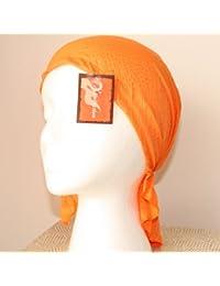 Orange Easy to Tie Bandana Style Headscarf with mini sparkle spots