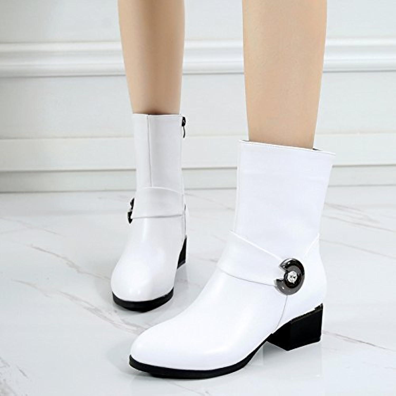 KHSKX 冬季女鞋保暖短靴 白色棉鞋加绒加厚棉靴 粗跟 4.5Cm 中跟中筒雪地靴 Treinta Y Cinco