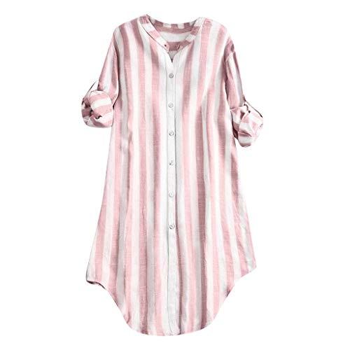 COZOCO 2019 Mode T-Shirt Damen Button Up Tops Pullover Baumwolle Bluse Gestreiftes Top Übergrößen Tunika Shirts