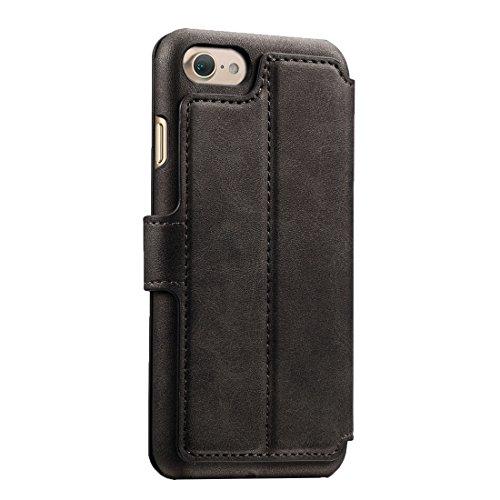 Für iPhone 7 Solid Color Rindsleder Textur Horizontale Flip Leder Tasche mit Halter & Crad Slots & Wallet by diebelleu ( Color : Coffee ) Black