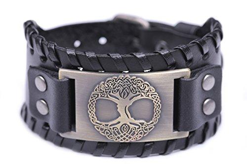 TEAMER Pagan arbol de la vida Yggdrasil Sigil pulsera de cuero celta nudo amuleto joyas