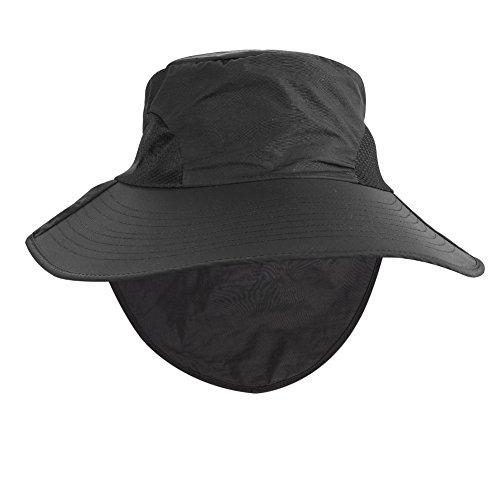 Strandhut Sonnenhut Nackenschutz UV Schutz Sonnenschutz Fischerhut für Damen Mädchen UPF 50+ Outdoor Kappe Visier Hut Mütze Elegant Sommerhut mit Schleife Breiter Krempe für Alle Jahreszeiten Schwarz