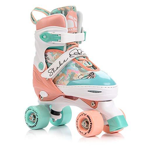 meteor® Retro Rollschuhe: Disco Roller Skate wie in den 80er Jahren, Jugend Rollschuhe, Kinder Quad Skate, 5 Verschiedene Farbvarianten, Einstellbare Größe des Schuhs (S 31-34, Shake)