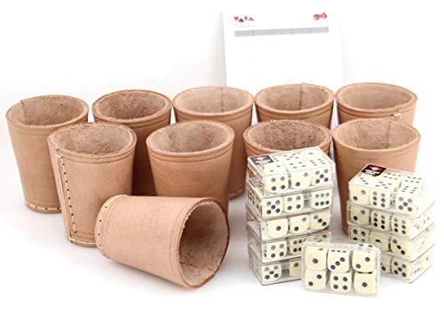 Ludomax 325135 Bundle 10 Würfelbecher mit jeweils 6 Würfeln, Echt Leder, ca. 9cm (Leder-würfel-box)
