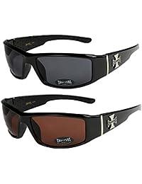 2er Pack Choppers 6608 X03 Sonnenbrillen Motorradbrille Sportbrille Radbrille in den Farben schwarz, anthrazit, silber und weiß