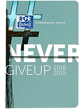 Oxford 100735769Never Give Up 2018–20191–Agenda escolar día página, 12x 18cm, azul