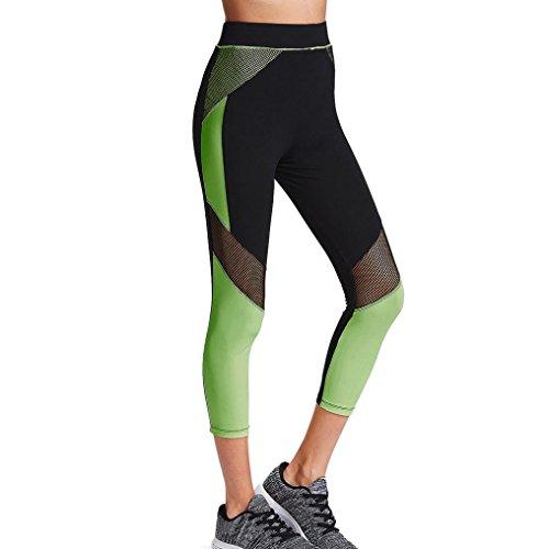 Damen Mesh Hohe Taille Sport Yoga Hose Amlaiworld Mode Gamaschen Hose (Schwarz, M) (Gestickte Spandex-leggings)