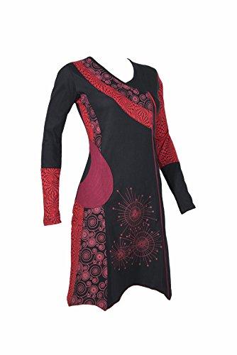 Asymmetrisches Tunika Kleid mit grafischem Muster - V-Auschnitt - Ethno Chic -...