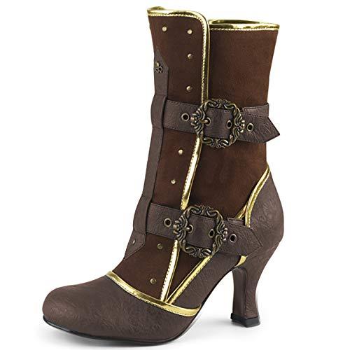 Higher-Heels Funtasma Damen Steampunk Stiefel Matey-205 braun Gr.39 (Viktorianische Stiefel)