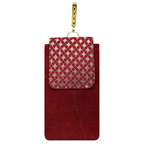 Bagaholics Ethnic Velvet Saree Clutch Embroidery Mobile Pouch Waist Clip Ladies Purse Gift For Women (Maroon)