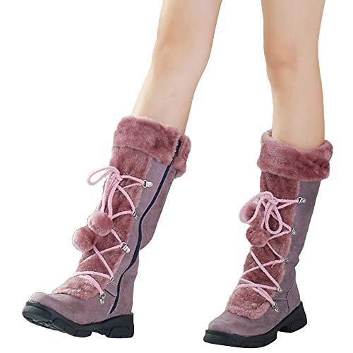 Preisvergleich Produktbild TianWlio Stiefel Frauen Winter Warm Halten Schlüpfen Schneestiefel Weihnachten Damen Haarballen Runde Kappe Quadratische Ferse Schuhe Halten Sie Warme Reißverschluss Schneestiefel