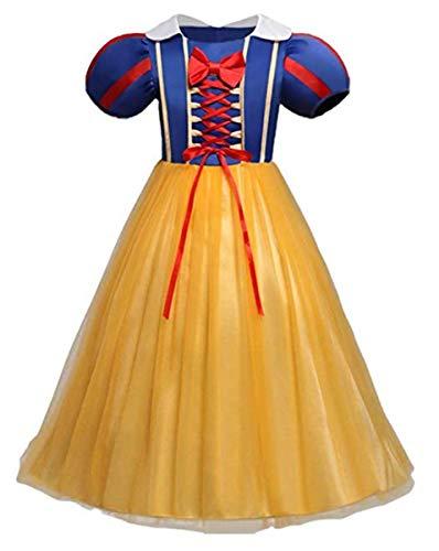 EMIN Mädchen Cosplay Kleid Prinzessin Schneewittchen Kostüm Puffärmel Kinder Märchen Kostüme Geburtstag Karneval Party Halloween Festival Partykleid Faschingskostüm Verkleidung Festkleid 3-8 Jahre (Teenager Holloween Kostüm)