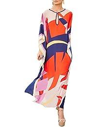 ASSKDAN Damen Strandkeid Sommer Lang Gestreift Boho Maxikleid Bikini Cover  Up - One Size 030dc046d2