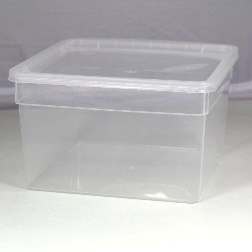 BraPlast Dose 3,0 Liter 19,5 x 19,5 x 11,0 cm - transparent mit transparentem Deckel / Kunststoff Stapelbox
