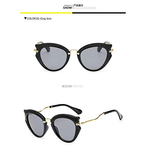 Taiyangcheng Metall Cat Eye Sonnenbrillen Frames Frauen Twist Curve Leg Spectacles Triangle,graue Linse
