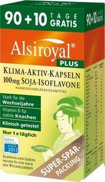 Alsiroyal PLUS Klima-Aktiv Kapseln, 90+10 Stück - Wechseljahre / Menopause | Mit Soja-Isoflavonen, Vitaminen, Mineralstoffen und Lecithin | Vegan | Glutenfrei | Lactosefrei