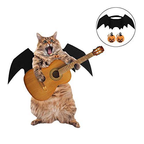 FunPa Katze Kostüm Haustier Katze Fledermaus Flügel mit Kürbis Glocken für Halloween Party Dekoration Fledermaus Kostüm Cosplay Puppy Cat Dress Up Zubehör für kleine Hundekatze
