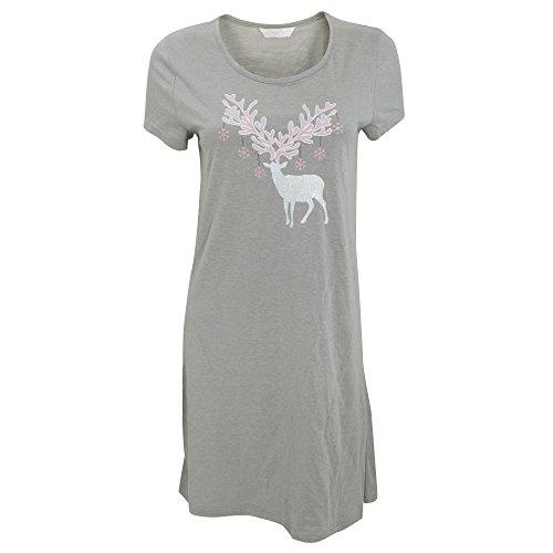 Chemise de nuit à motif cerf à paillettes - Femme Gris/Rose