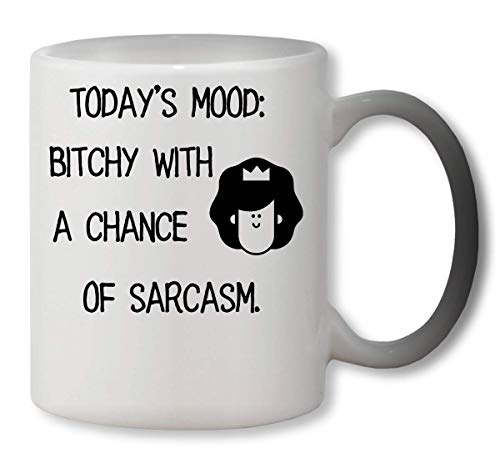 KRISSY Today\'s Mood: B**tchy with A Chance of Sarcasm Heat Mug Color Changing Cup Farbwechsel Tasse