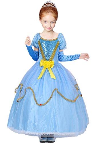 zessin Kinder Kleid Mädchen Kostüm Weihnachten Verkleidung Karneval Rollenspiele Party Halloween Fest (Ariel Kostüme Kleid Blau)