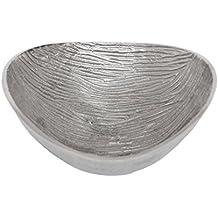 Sukima Decor Bowl Centro, Metal, Plateado, 16 x 16 cm