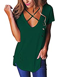 Imixcity Women Sexy Deep V Neck Hole Ripped T-Shirt Crisscross Front Destroyed Tee Baggy Tops Clubwear