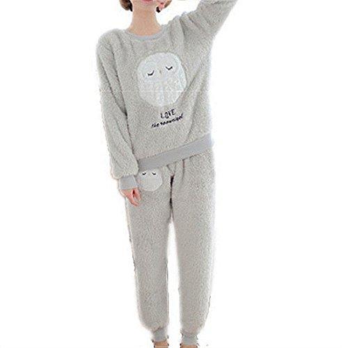 GWELL Damen Pyjama Eule Motiv Schlafanzug Set Flanell Zweiteiliger Langarm Nachtwäsche Winter grau L (Pyjama Hose Set Flanell)