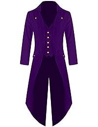 mioim Herren Frack Steampunk Gothic Jacke Vintage Viktorianischen Langer Mantel Fasching Karneval Cosplay Kostüm Uniform