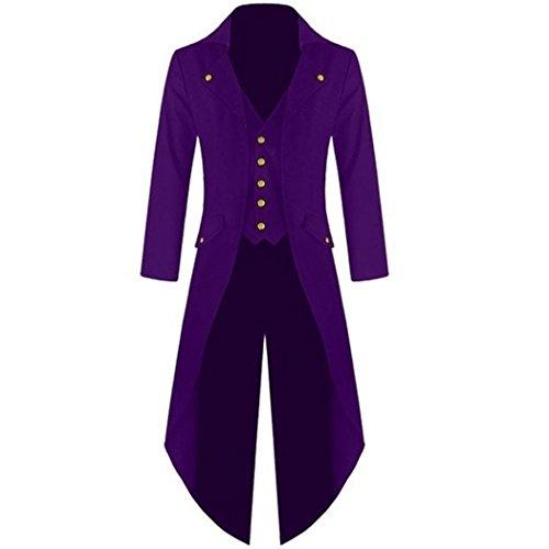 mioim Herren Frack Steampunk Gothic Jacke Vintage Viktorianischen Langer Mantel Kostüm Cosplay Kostüm Smoking Jacke Uniform Lila M (Lila Smoking Kostüm)