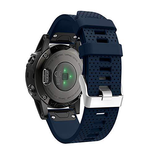 Alansep Weiche Silikon-Ersatzarmband-Armbanduhr 20mm für Garmin Fenix 5s (Marine Blau) - Garmin-marine-kamera