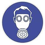 """Gebotsaufkleber """"Atemschutz benutzen"""", Art. hin_146 DIN 4844-2, Ø 9cm, Hinweis, Achtung, Warnhinweis, Gebotshinweis, Atemschutz benutzen, Gasmaske"""