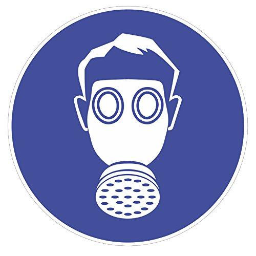 "Preisvergleich Produktbild Gebotsaufkleber ""Atemschutz benutzen"", Art. hin_146 DIN 4844-2, Ø 9cm, Hinweis, Achtung, Warnhinweis, Gebotshinweis, Atemschutz benutzen, Gasmaske"
