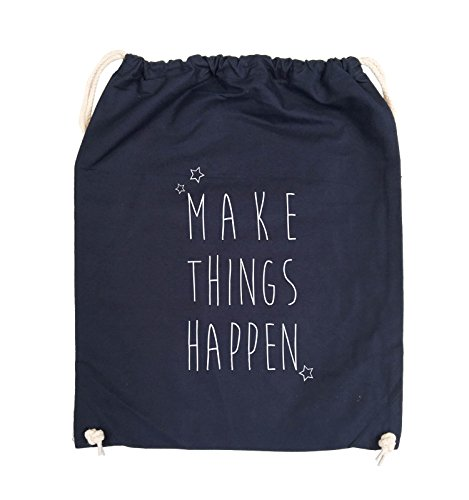 Comedy Bags - MAKE THINGS HAPPEN - Turnbeutel - 37x46cm - Farbe: Schwarz / Pink Navy / Weiss