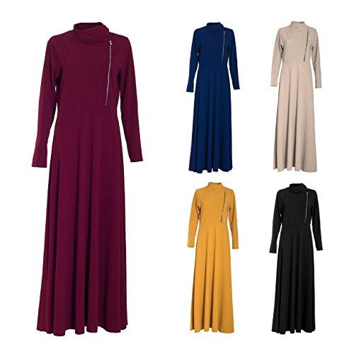 Femme islamique Modeste Uni Type pour Jilbab D'Hiver Maxi robe longue casual Wear Manteau Maxi farasha hijaab jilbaab élégant Fashion Party Fête de l'Aïd Bordeaux