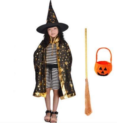 HLJZK Halloween Mantel Dress up kostüm Prom kostüm Mantel Junge und Zauberer magier Cape schwarz Mantel Set 80 cm (80 Prom Kostüm)