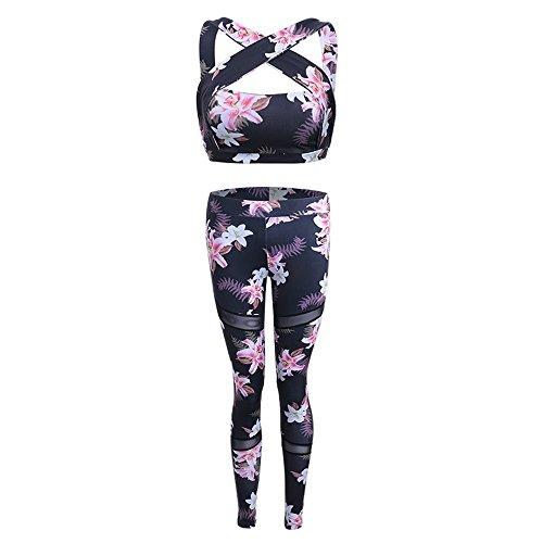 Wenyujh Damen 2 Teillig Bekleidungsset Sport BH Leggings Set Bustier Top Yoga-Hose mit Blumenmuster Aufdruck
