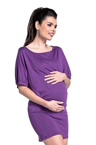 Zeta Ville - Maternité robe stretch manche chauve-souris col bateau - femme-700c Pourpre