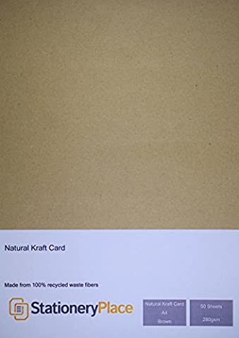 Stationery Place - Carte / Carton Kraft Naturel Marron Recyclé - Epais - A4 280gm - Pack de 50 feuilles